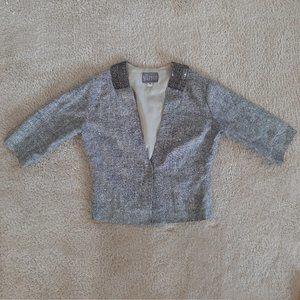 Raw Organic Silk Jacket with Beaded Collar - Sz M